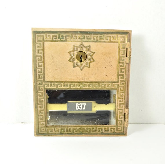 Vintage post office box door greek key design for Door key design