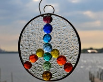 Rainbow Peace Sign Stained Glass Suncatcher