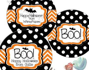 Personalized Halloween Stickers, Boo Stickers, Trick or Treat Bag Stickers