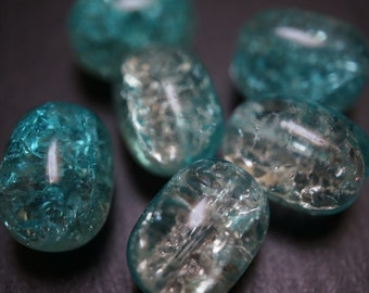 Aqua Blue Cracked Glass Barrel Shape Beads 12mm x 16mm - 6 pcs
