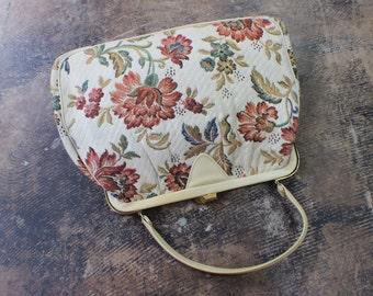 Vintage HANDBAG / Floral Tapestry Purse / Short Handle 1960's Bag
