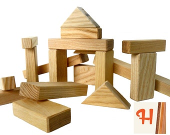 24 Natural Wood Toy Building Blocks - Handcrafted in the USA