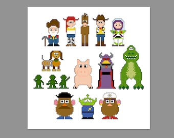 Toy Story 2 Pixel People Character Cross Stitch PDF PATTERN ONLY