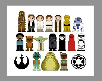 Star Wars Pixel People Character Cross Stitch PDF PATTERN ONLY
