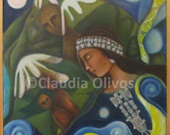 Shaman gift - Mapuche Shaman - Spiritual Gift - Mother Earth print - Native American Art - Shaman Healer - Inspirational gift - healer