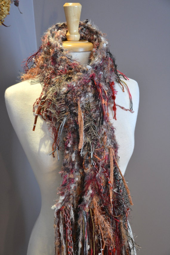 Knitting Loom Scarf Fringe : Knit Fringed Artistic Scarf Birds of a Feather