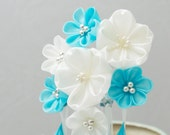 Metallic Winter Snow and Ice Storm Tsumami Kanzashi Silk Flowers Hair Stick Pin