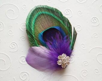 Wedding Hair Accessories Peacock Bridal Hair Clips Fascinator Feather Hair Piece Purple - READY TO SHIP