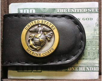 Handcrafted Leather Money Clip with Two Tone USMC Concho