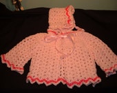 Crocheted White and Pink Baby Sweater and Hat