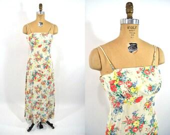1970s dress vintage 70s cream floral print hippie tea maxi party dress XS
