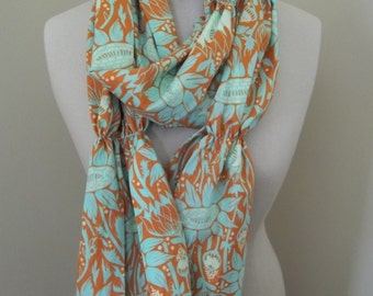 Floral Scarf, Ruched Scarf, Cotton Scarf, Summer Scarf