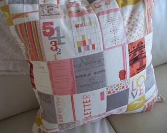 Throw Pillow Cover 18 x 18  Pink & Grey Modern Love