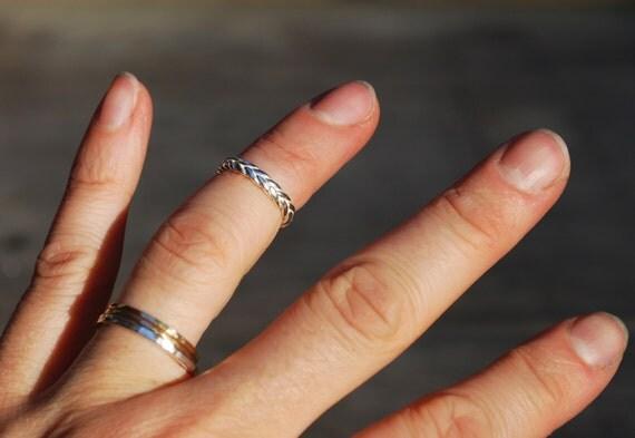 Sterling Silver Braid Pinky / Knuckle / Baby Rings