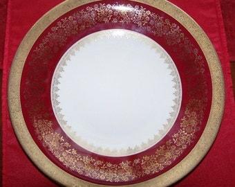 Bavarian China - Eschenbach - Red & Gold Serving Bowl Platter - Holiday Bowls