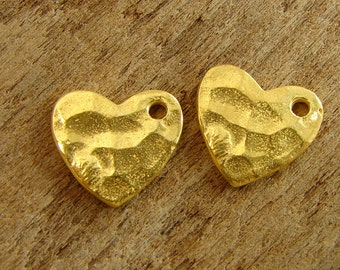 Tiny Textured Hearts - Artisan 24K Gold Vermeil Heart Charms - One Pair - cthhv