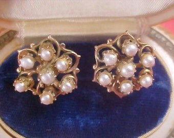 Simulated Pearl 1950's Clip Earrings
