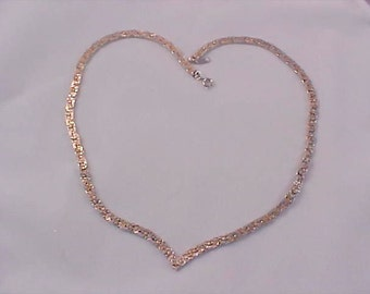 "Nugget Style GOLD & SILVER Plate  ~ ""V"" Necklace"