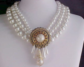 THREE Strand Simulated Glass Pearls Intricate Design Necklace/Choker
