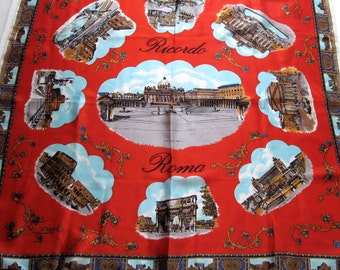 Vintage Souvenir of Rome Scarf, Roma, Print Scarf, Square, Large, Satin, Red, Italy, Famous Landmarks, Head Scarf, Tourist, Vacation