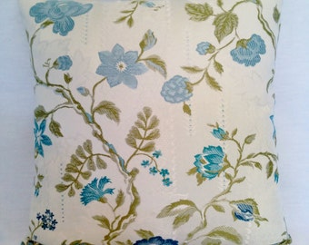 Pillow Cream Olive Blue Teal Flowers and Vines