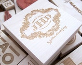 3 x 3 in - YOUR CUSTOM DESIGN - Art Wood Mounted Rubber Stamp - For Logo, Branding, Packaging, Invitations, Party, Favors