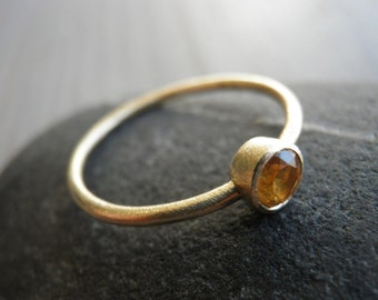 November birthstone Ring, Genuine Citrine gold Ring, Classic yellow Ring, 18K gold Ring, Statement Ring, Nostalgic Gift, Bridal Jewelry