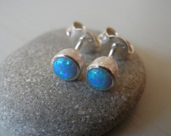 Ready to ship, Opal earrings,  4mm synthetic round cabochon Opalite earrings, Opalite stud earrings