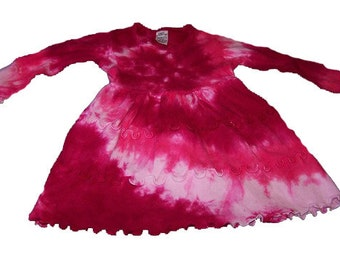 Tie Dyed Hot Pink and Fuchsia Spiral Long Sleeve Infant 3 Tier Single Lettuce Edge Dress