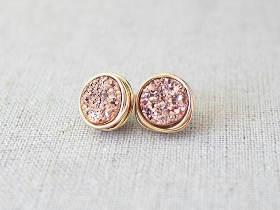 Rose Gold Druzy Earrings | Druzy Stud Earrings | Bridesmaids Rose Gold Earrings [Eclipse Wirewrapped Earrings]