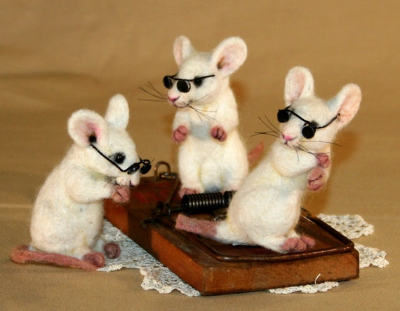 2012 TOBY Award 3 Blind Mice  with a Vintage Rat Trap Artist OOAK Doll Bear by ODACA Artist Stevi T
