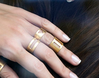 Oval Ring-Geometry Collection-Handcrafted Gold Plated Brass