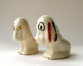 20s vintage Small Ceramic Sad Eyed Dog Planters