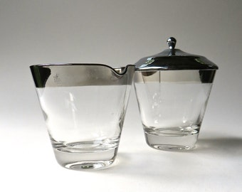 Mid Century vintage Silver Band Glass Cream and Sugar Set