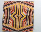 Vintage Hanky, Brown, Blue, Orange, Yellow Stripes In A Design