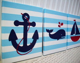 Nautical Nursery Paintings - Baby Room Wall Decor - Anchor Whale Baby Boy Nursery - Nautical Bedroom - Wall Hanging - Nautical Nursey Art