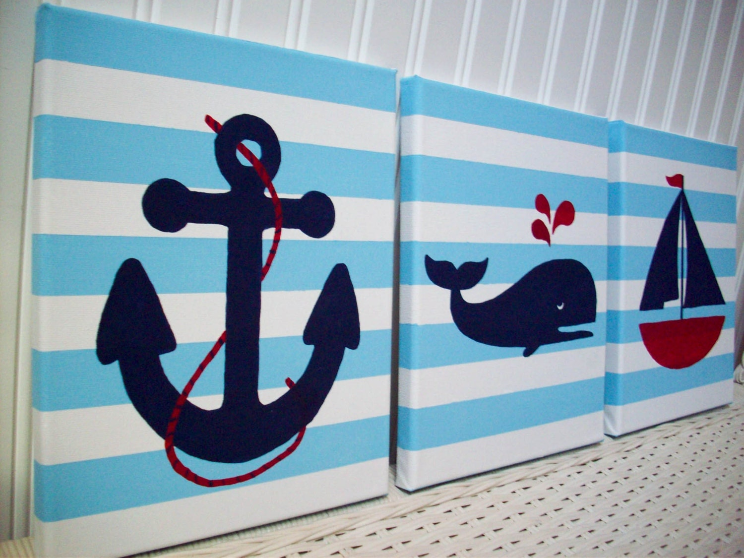 nautical nursery paintings baby room wall decor anchor. Black Bedroom Furniture Sets. Home Design Ideas