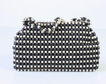 Vintage Czech Handbag / Beaded Czech Purse / Beaded  Clutch / Navy and White