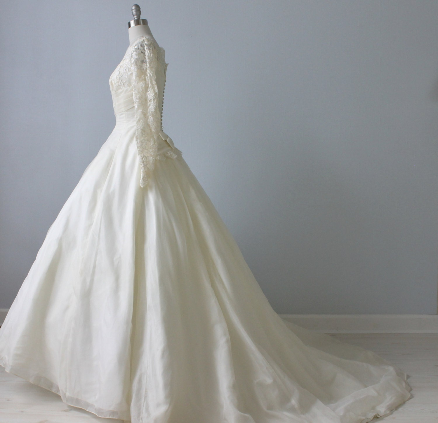 RESERVED 1950s Wedding Dress 1950s Lace Wedding Gown Long