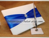 Custom Colors Sash Style Wedding Guest Book and Pen Set with Vibrant Rhinestone Accent...You Choose the Colors.... shown in white/royal blue