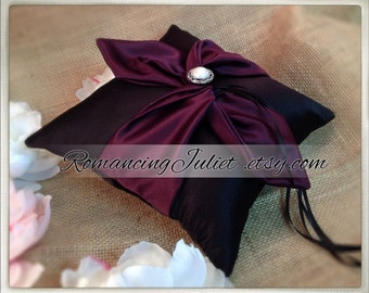 Knottie Ring Bearer Pillow with Delicate Pearl Accent...You Choose the Colors....Buy One Get One HALF OFF..shown in black/eggplant purple