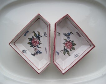 Antique Pair French Trays Dishes Hand Painted Strasbourg Region Floral Papillon Design Pinks Pastels