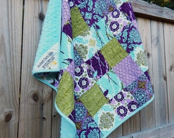 Patchwork Little Quilt, YOU PICK FABRIC, Granny Chic in Modern fabrics baby quilts