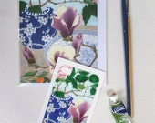 iPhone5 Sticker and matching blank art card: Camelias and magnolias