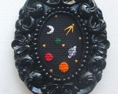 Cosmos Space Galaxy Completed Cross Stitch - Small Resin Ornate Frame