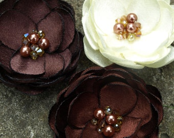 Brown Tones Colored Small Flower Hair Clips or Brooches Set of 3