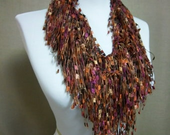 Fringe Binge Fringe Necklace Scarf  in Rust, Chocolate, Taupe, Maroon Ready to Ship Infinity Scarf Circle Scarf Knotted Crochet Multicolor
