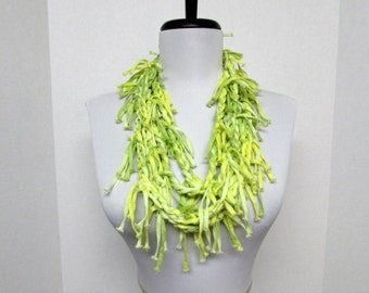 GladRagz Circle of Chains Necklace Scarf in Lemon Yellow and Lime Green - Ready to Ship Shredded Knotted Infinity Circle Crochet Scarf