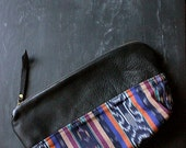 ON SALE on sale. Handmade 12-inch Black Leather and Ikat Zipper Pouch