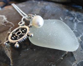 sea glass necklace beach glass necklace Nautical beauty